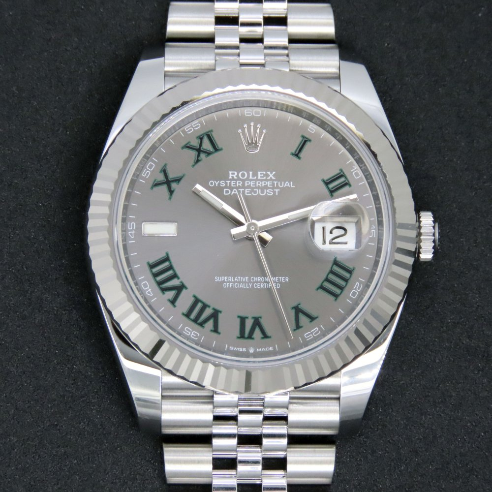 全新 Rolex 126334 鋼 Datejust 41 灰面綠色羅馬字珠帶