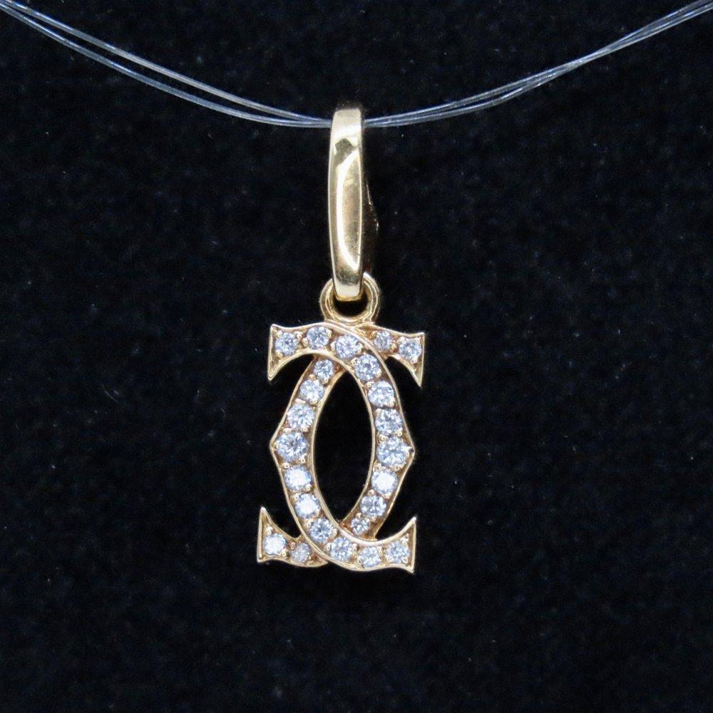 二手首飾 Cartier 18K黃金 Double C 24粒圓石吊墜